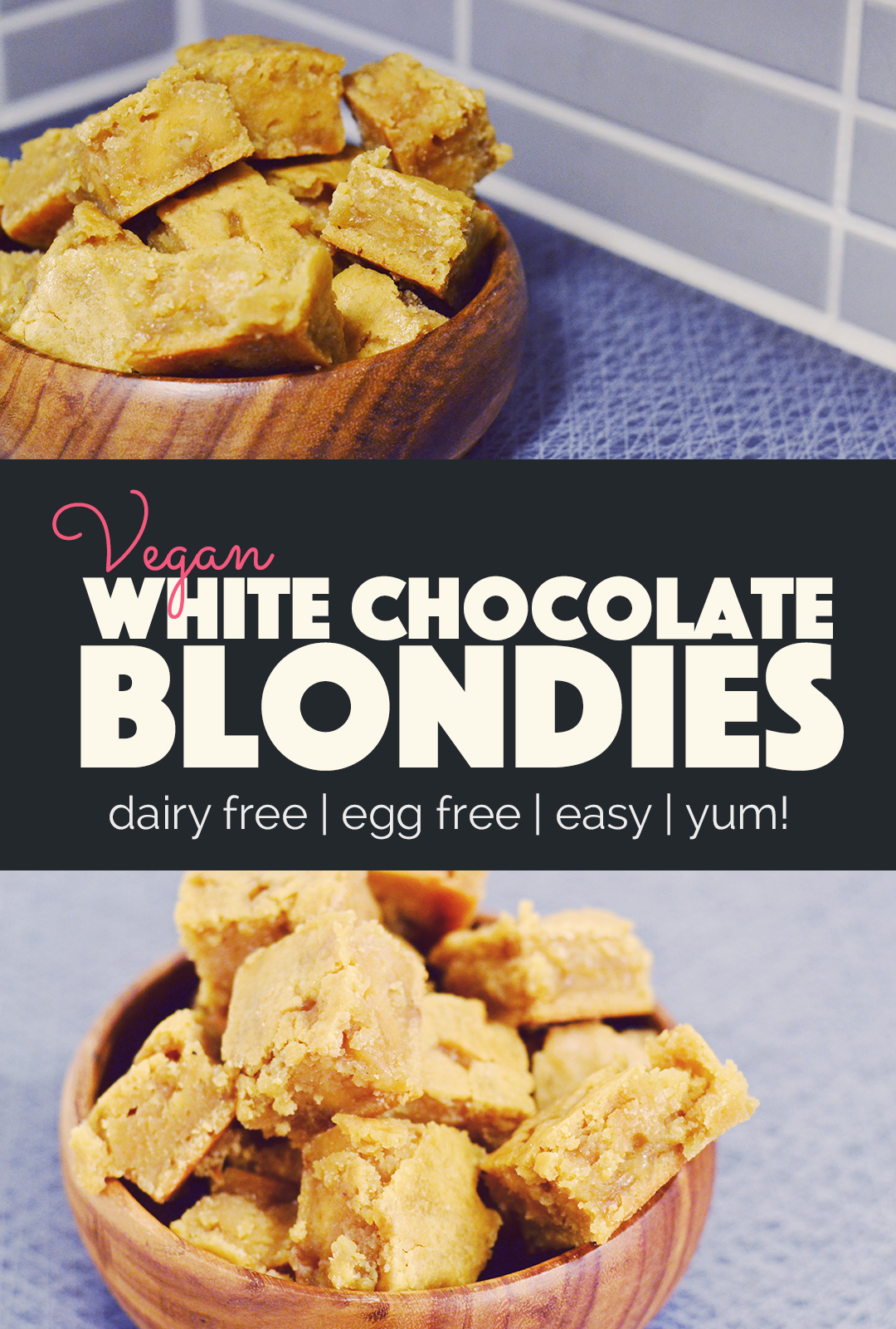 Vegan White Chocolate Blondies | http://BananaBloom.com